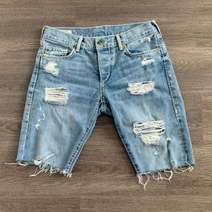 True Religion low rise slim denim distressed short